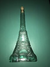 "Vintage 14"" Light Green Glass Paris Eiffel Tower Bottle With Cork"