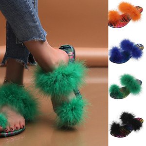 Women Faux Fur Slippers Summer Feather Thong Open Toe Single Strap Sandals Shoes