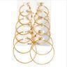 6 Pairs/set Oversize Big Circle Hoop Earring Set Women Simple Punk Jewelry Gift