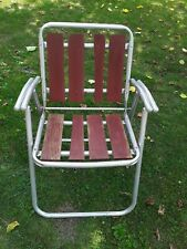 Vintage Folding Aluminum Red Wood Slat Lawn Chair.