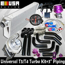 "DIY Universal EMUSA T3/T4 Turbo FMIC 3"" Black Piping Kit"