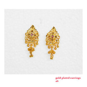 Gold Plated Earrings Studs Indian Asian Jewelry Ladies Wedding Fashion Designer