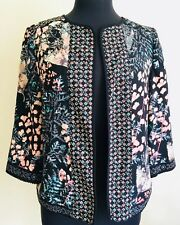 PER UNA M&S Floral Spring Summer Smart Jacket 12 40 Open Front Lined Peach Black