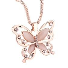 Rose Gold Opal Butterfly Charm Pendant Chain Necklace Crystal Jewelry USA SELLER