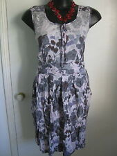 SIZE 14 SMART FLATTERING puprle grey summer dress with lace detail