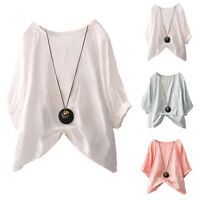 Women Cotton Summer Batwing Sleeve Shirts Casual Baggy Loose Solid Blouse Tops