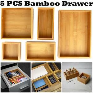 5-Piece Bamboo Drawer Set Capacity Organiser Durable Storage Box Assorted Sizes