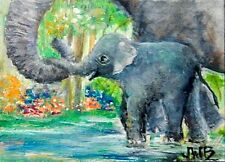 ACEO Original Art Painting Elephant Mother, Baby in Water First Time, Trunks