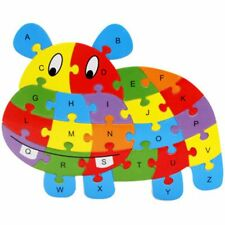 1 PCS Wooden Animal Alphabet Puzzle Toys for Boys & Girls Ages 3+ in Hippo