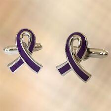 Purple Ribbon Cufflinks Cuffs Awareness Pancreatic Cancer Alzheimers Dementia