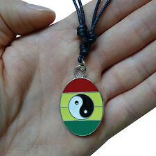 Yin Yang Rasta Silver Tone Pendant Chain Necklace Choker Charm Mens Ladies Kids