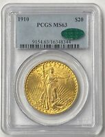 1910-P $20 Saint Gaudens Gold Double Eagle Pre-33 PCGS MS63 CAC Flashy Bold Coin