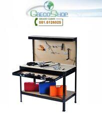 Banco da lavoro in metallo con pannello portautensili, cassetto e mensola