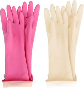 Kids Waterproof Household Natural Rubber Latex Cleaning Wash Gloves Pink Ivory