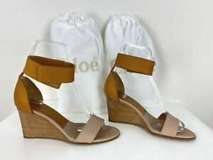 Chloe New 36.5 US 36.5 EU Brown Leather Wedge Heel Shoes Runway Auth Dust Bag