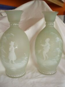 PAIR OF ANTIQUE BOHEMIAN OPAQUE PALE GREEN MARY GREGORY STYLE GLASS VASES