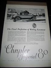 1926 Ad CRYSLER IMPERIAL 80 Advertising Magazine print Motor Car ADVERTISEMENT