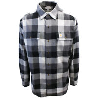 Carhartt Men's Original Fit Black Light Grey Box Plaid L/S Flannel Shirt (375)
