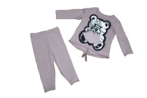Baby Girls Teddy Bear Lounge Suit Tracksuit 2 piece set Pink 12-36 Months
