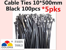 500Pcs Black Electrical Nylon Cable Zip Ties (10mm x 500mm) UV Stabilised