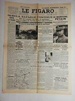 N806 La Une Du Journal Le Figaro 19 mai 1940 la bataille continue, Pétain
