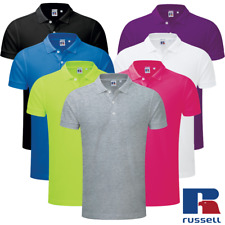 Russell MEN'S POLO SHIRT STRETCH SLIM FIT SPORTS SOFT COTTON LYCRA BRIGHT S-3XL