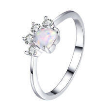 Cute Dog Cat Footprint Ring White Gold Heart Cut White Fire Opal Zircon Jewelry