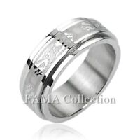 FAMA Stainless Steel Double Dragon Center Spinner Ring Size 9-13