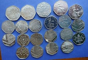1969 to 2019 Bright Uncirculated or Proof 50 pence coins all Royal Mint issue
