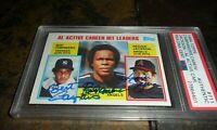 1984 Topps #711 Campaneris Rod Carew Reggie Jackson PSA/DNA Authentic Signed x3