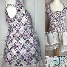 NEXT Maternity Top Tunique Taille 14 Embrasses Pin Tuck Front Floral Dentelle Été