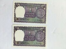 1949-1957 INDIA Consecutive Serial # ONE 1 RUPEE Reserve Bank NOTE Set of 2