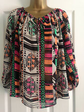 BNWT NEXT Pink Black Orange Print Long Sleeved Chiffon Top Blouse Size 16