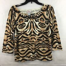Fleur by David Rodriguez Size M Womens Sweater Animal Print 3/4 Sleeves
