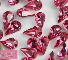 10x Swarovski Cristal Pedrería 4300 Rose Rosa Lágrima De Pera 8mm