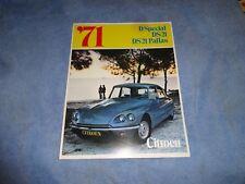 1971 Citroen  DS21 Pallas  Dspecial  Dealer   sales brochure xlnt
