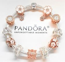 Pandora Sterling Silver Charm Bracelet With Rose Gold & White European Charms...