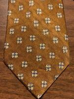 D2 Robert Talbott Studio Men's Tie 100% Silk Gold/Blue Geometric Foulard