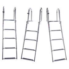 Premium 316 Ss Folding Rear Entry Pontoon Boat Ladder w/ Extra Wide Step AU FAST