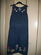 Vintage Hampton Point denim maxi jumper dress with kitty appliques size 18