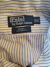POLO by Ralph Lauren Mens shirt blue white yellow stripe casual collar 16.5