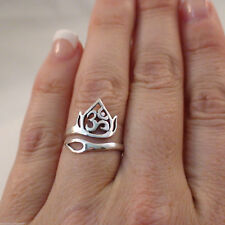 Adjustable Lotus Flower and Ohm Ring - 925 Sterling Silver - Ohm Om Lotus *NEW*