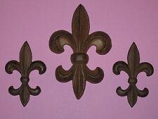 3Pc, cast iron, Fleur De Lis Plaque, Wall Decor, Home Decor, New Orleans, Saints