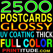 """2500 POSTCARDS 4"""" x 9"""" FULL COLOR, GLOSSY, 2 SIDED - 4x9 + FREE Design"""