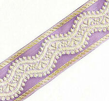 3 Yards. Purple & Metallic Gold, Organza Trim. Jacquard Ribbon. Braid