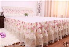 New Fashion Beige Cotton W150cm * L200cm Decorative Lace Bedspreads Bed Skirt