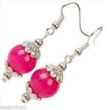 Pair Tibet Silver Asian 12mm pink jade Earrings