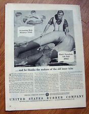 1945 US Rubber Ad WW II Theme Pilot's Parachute Life Raft Swimming Hole Memory