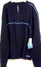 SALTY SWEATER XXL ZIPPER COLLAR L/S NAVY BLUE LT BLUE STRIPED TRIM NWT