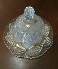 Depression CUT GLASS CRYSTAL Sawtooth edge Domed CHEESE BUTTER DISH Saver
